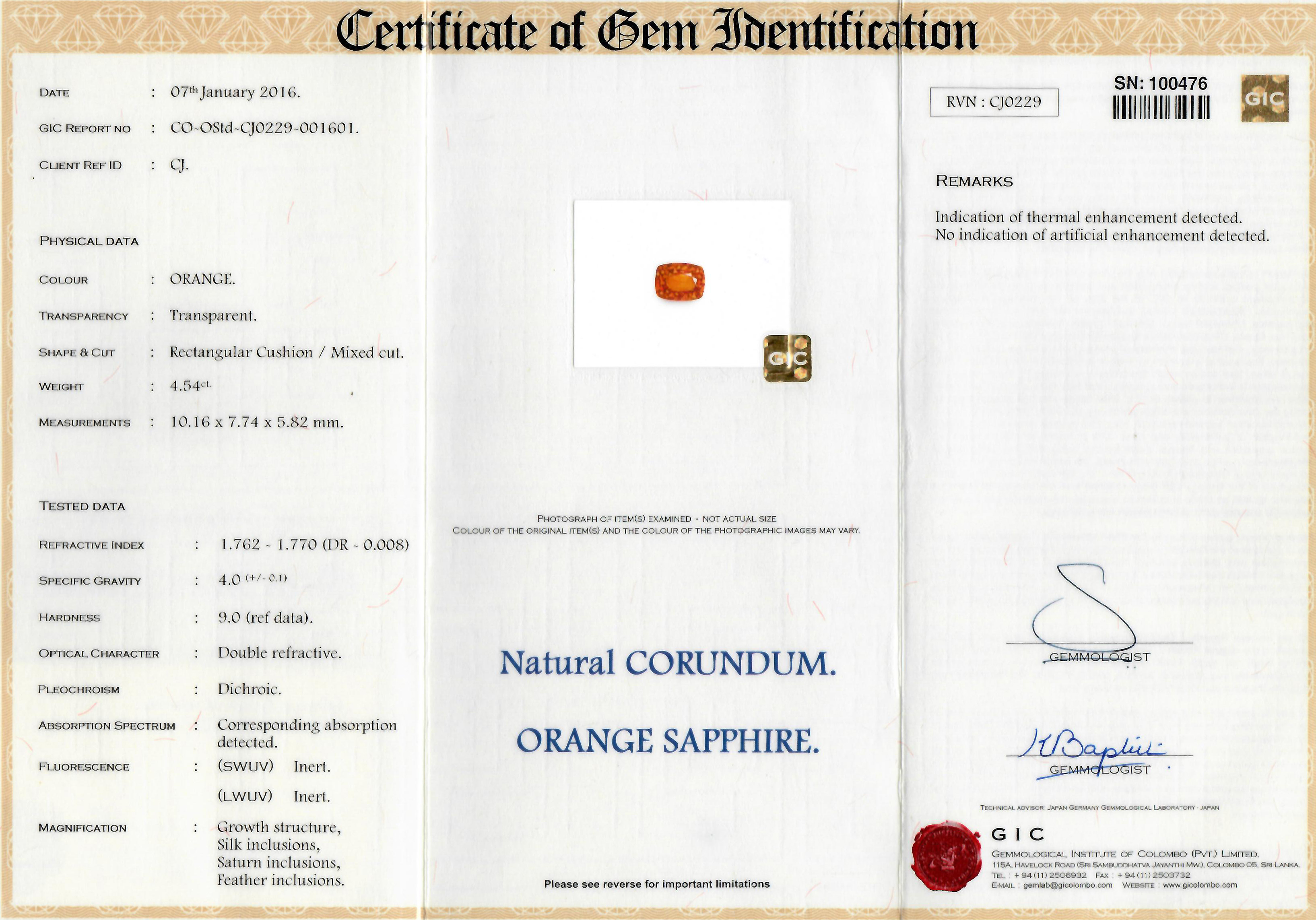 1 Orange Sapphire