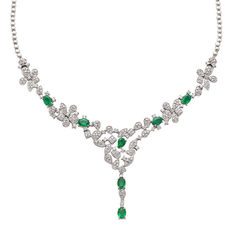 White Gold Emerald and Diamond Necklace (SOLD)
